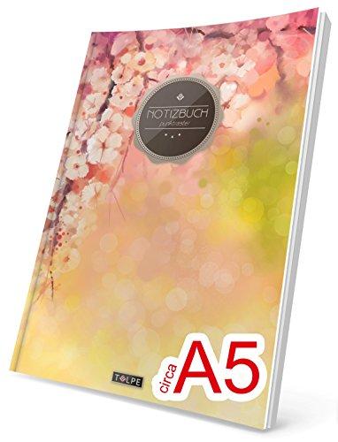 """TULPE Punktraster Notizbuch: Ca. A5 """"C089 Frühlingsblumen"""" (Vintage Softcover, Register, Punktpapier - Bullet Journal, Kalligraphie Übungsheft, Skizzenbuch, Gepunktete Seiten, Dotted Grid Journal)"""