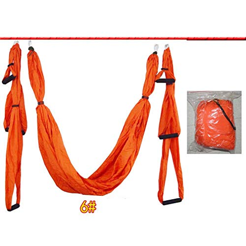 Hamaca de Techo de Yoga aérea antigravedad de 6 Asas, Columpio Volador, Trapecio, Naranja