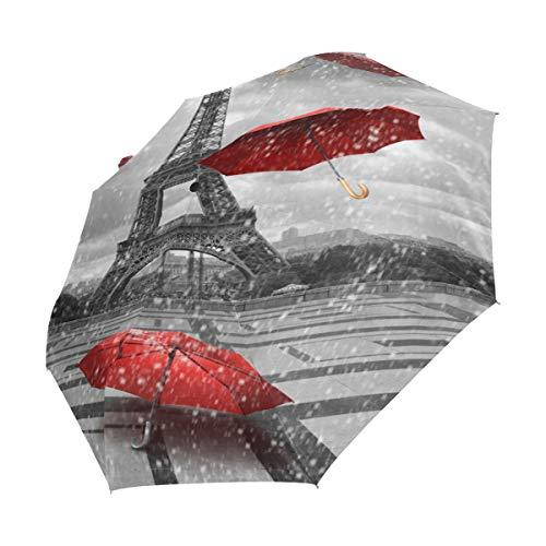 Ahomy Art Regenschirm 3-Fach faltbar Eiffelturm mit fliegenden Regenschirmen Reiseschirm robust Winddicht Anti-UV Sonne Regen Regenschirme Auto Öffnen/Schließen