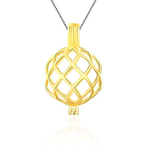 LGSY 24K Gold Plated Twisted Ball Pendants for Pearl Jewelry Making, Design Pearl Cage Pendants for Adorable Gift