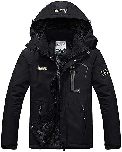 Memoryee Chaqueta impermeable para hombres Chaqueta polar de invierno Cálida chaqueta de esquí A prueba de viento Bolsillos múltiples Black XL
