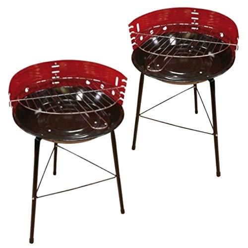 marion10020 Rundgrill Holzkohlegrill Grill BBQ Partygrill, mit vierfacher Höhenverstellung, rund, Grillfläche ca. 32 cm, 2er-Set
