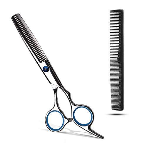 Haarschere Profi, Friseurschere Scharfe, Edelstahl Haarschneideschere mit Kamm | Präziser Schnitt | Perfekter Haarschnitt für Kinder, Damen und Herren (B-Effilierschere)