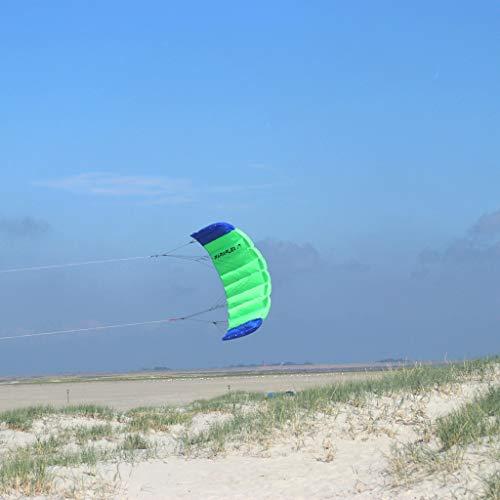 Wolkenstürmer Paraflex Basic 1.7 Lenkmatte, Grün - Flugfertiger 2-Leiner Kite für Anfänger