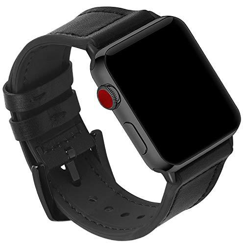 GerbGorb Correa de silicona para reloj Apple de 38 mm, 42 m, 40 mm, 44 mm, correa de piel de goma ultra suave para Apple Watch Series 5/4/3/2/1, Unisex adulto, Hebilla negra y negra., 42mm/44mm