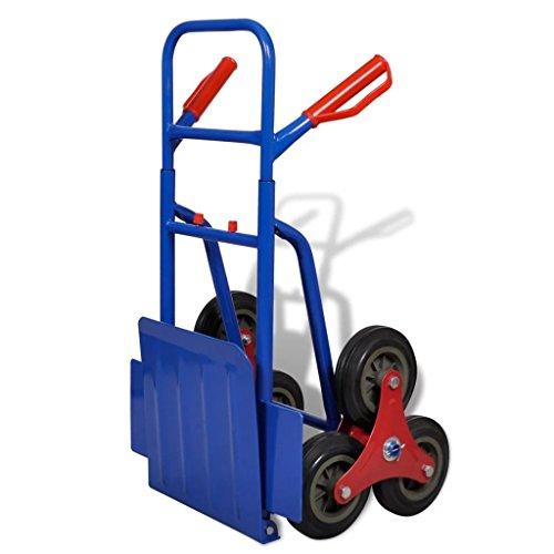 Vislone Carretilla de Carga para 150 kg con 6 Ruedas Plegable de Estructura de Acero y Rueda de Caucho Azul y Roja