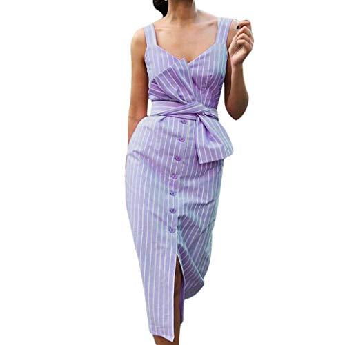 MERICAL Más el tamaño de la Moda de la Mujer Casual Estilo de Vacaciones de Rayas de impresión sin Mangas Vestido increíble Chica(Morado,XXXX-Large)