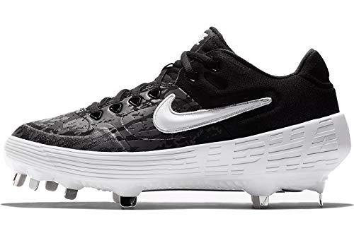 Nike Women's Alpha Huarache Elite 2 Softball Cleats (7, Black/Thunder Grey/Oil Grey/White)