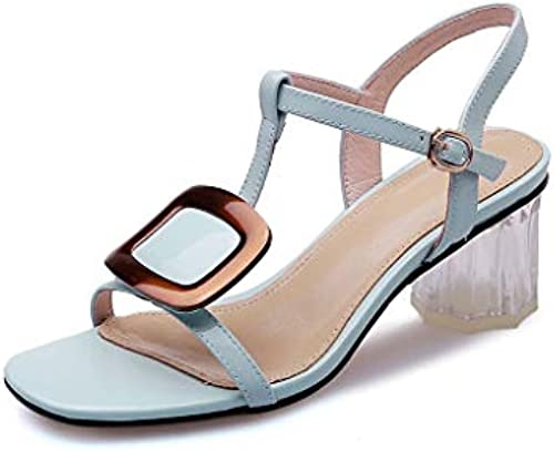 Sandalen Sandalen Sandalen Damenmode Sommer Dick Mit High Heels Schnalle Bankett Hochzeitsschuhe (Farbe   B, Größe   36)  wähle deinen Favoriten