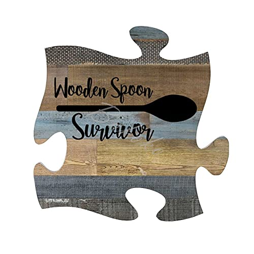 BAKOKO Funny Wall Decor Puzzle Sign, Wooden Spoon Survivor Farmhouse Rustic Home Decorations Wall Art Wooden Plaque Bedroom Sign Wall Hanging Wood Plaque Sign with Sayings Inspirational Quote 30x30cm