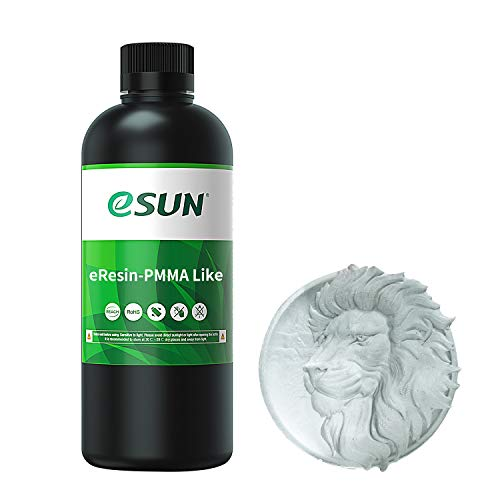 eSUN PMMA - Resina rapida per stampante 3D, 405 nm LCD UV polimerizzazione ultra trasparente, resina acrilica fotopolimerica per fotoni LCD 3D stampante liquida resina 3D, 1000 g trasparente