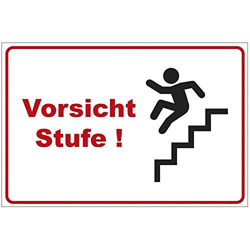 Schild Vorsicht Stufe 2 ! aus Alu / Dibond 200x140 mm - 3 mm stark