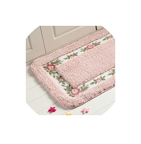 Pastoral Floor Carpet Living Room Bedroom Carpet Area Rug Anti Slip Floor Mat Bathroom Carpet Mat Kitchen Mat Home Textile,Pink,Rectangle 40x60cm