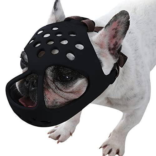 BARKLESS Dog Muzzle for Short Snout Bulldog (L, Black)