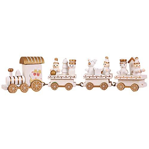BESTOYARD Tren de Navidad de madera con Papá Noel muñeco de nieve Navidad decoración árbol de Navidad madera (blanco)