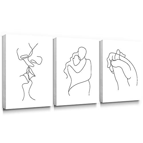 Gronda Wall Art for Bedroom Minimalist Black and White Canvas Paintings Home Decor Framed