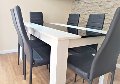 KOSY KOALA White and black wood dining Table with 6 black Faux Leather chairs high gloss wood dining set (Table and 6 black chairs)