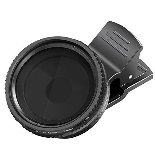 Neewer 37mm clip-on ND 2-400 Handy Objektiv Filterset: verstellbar ND Filter mit Handyklemme für iPhone X 8 plus 7 Plus 7 6 6S Plus Samsung HTC Motorola iPad und andere Smartphones