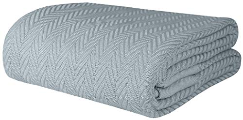 Herringbone Soft Breathable 100% Cotton Blanket Full/Queen Size Scottish Grey by Threadmill Home Linen