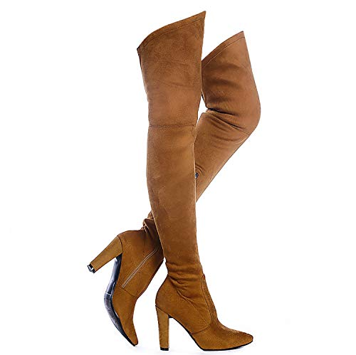 Shoe'N Tale Women Stretch Suede Chunky Heel Thigh High Over The Knee Boots (7.5, Camel)