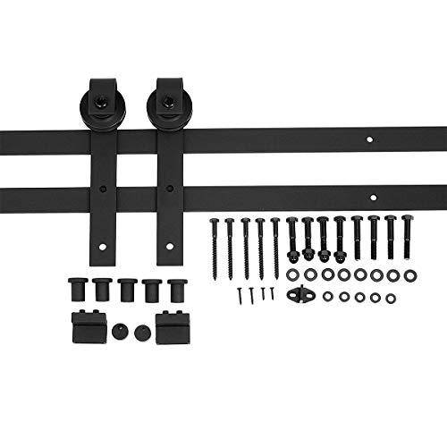 Amazon Basics Sliding Barn Door Hardware Kit, 6.6 Foot, J Shape, Black