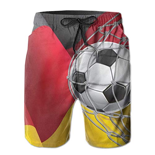WowMyGod Shorts de Playa para Hombre Men's Summer Swim Trunks Soccer Goal and an Flag Swim Beach Trunks for Outside Home with Pockets