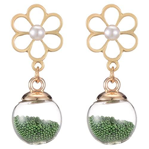 Pendientes Cinta Simple de Doble Cara Perlas de arroz Verde Pendientes de Bola de Cristal Pendientes de Copo de Nieve de Perlas de Oro Rosa - Verde