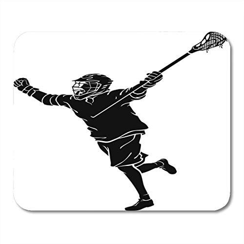 Mauspad-spieler lacrosse win silhouette stick aktive aktivität arme athlet mousepad für notebooks, Desktop-computer mausmatten, Büromaterial