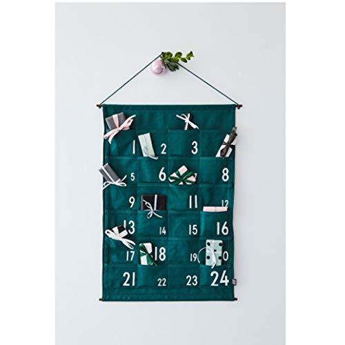 Design Letters - Adventskalender, Christmas Calendar - Grün - Canvas - Ø 49cm x 73cm - Maße der Fächer: 12cm x 11cm