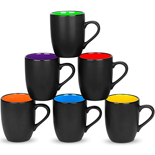 6 Pack Large Coffee Mug Set 16 Ounces, DeeCoo Matte Black Porcelain Mug - DeeCoo Large-sized Ceramic...