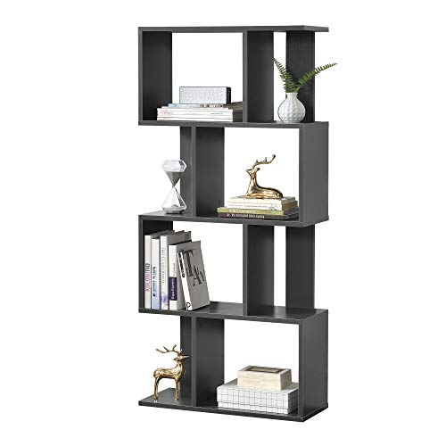[en.casa] Librería 130 x 60 x 24 cm Estante para CDs Soporte para DVDs con 8 compartimientos Gris Oscuro