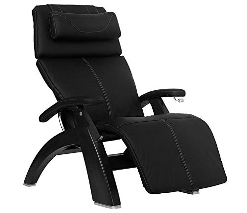 Perfect Chair Human Touch PC-420 Classic Manual Plus Series 2 Black Matte Wood Base Zero-Gravity Recliner - Black SoftHyde Vinyl - in-Home White Glove Delivery