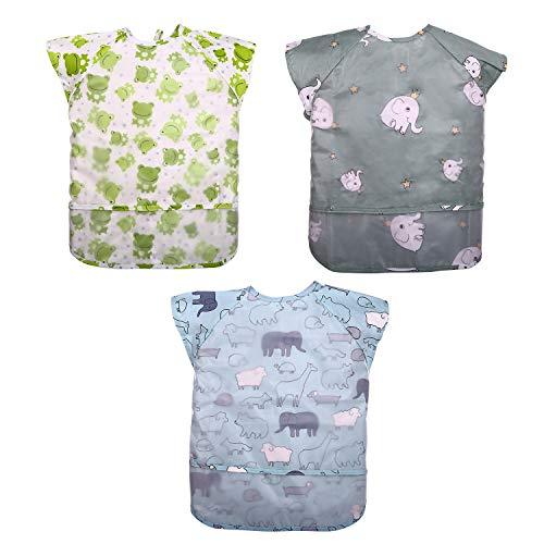CITÉTOILE Baberos de bebé con manga corta impermeables baberos con manga corta adecuados para alimentar/comer/destete delantal con bolsillo para niños niñas de 6 meses a 2 años (3 unidades)