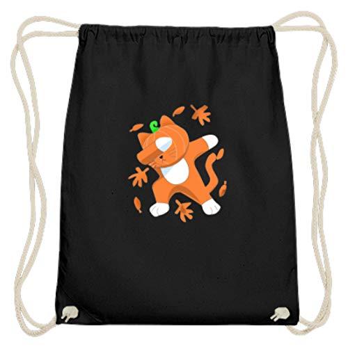 Dabbing Kat met pompoenkop Cat Pumpkin Halloween - eenvoudig en grappig design - Katoen Gymsac