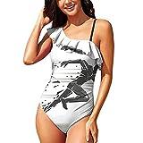 Hitecera Geometric Running Man,Summer Swimsuit One Piece Swimsuit RuffledUp XL