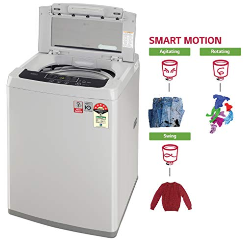 LG 7 kg 5 Star Inverter Fully-Automatic Top Loading Washing Machine (T70SKSF1Z, Middle Free Silver, TurboDrum) 5