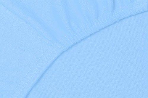 Double Jersey – Spannbettlaken 100% Baumwolle Jersey-Stretch bettlaken, Ultra Weich und Bügelfrei mit bis zu 30cm Stehghöhe, 160x200x30 Himmelblau - 5