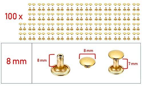 My Belt - 100 Stück Hohlnieten für Leder, Ledernieten 8mm Gold, Doppelkappe Nieten, Gürtelnieten Kappe
