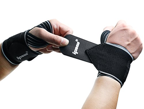 IPOW 2 Pack Strong Support Breathable Adjustable Wrist Wraps Straps Braces Best for Weight Lifting, Loading Freight, Typing, Relieve Wrist Pain, Sprains, Carpal Tunnel