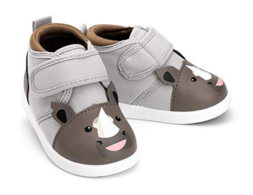 ikiki Rhino Squeaky Shoes for Toddlers w/Adjustable Squeaker Gray Girl or Boy Shoes (Size 9, Rafiq Rumble)