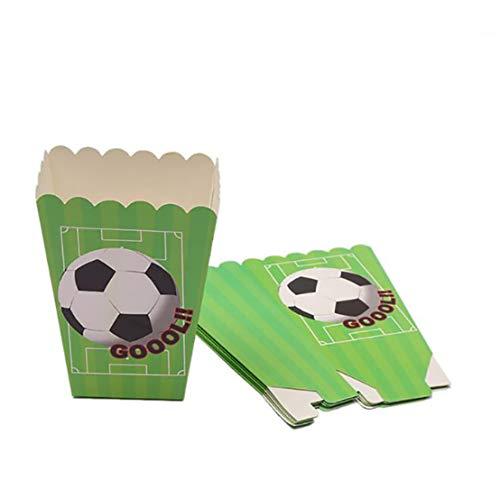 Kissherely Fußball Thema Party Pack Liefert Kinder Geburtstag Fußball Dekorationen Geschirr Tischdecke Bunting Banner (Popcorn Box 6 stücke)