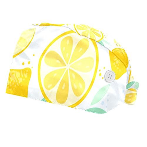 Citrus limón Amarillo para Las Mujeres Impresas, enchufes Paquetes de Trabajo abarca 2 Mama protección Matorrales Ajustable con un botón de Cuero y de Soldadura