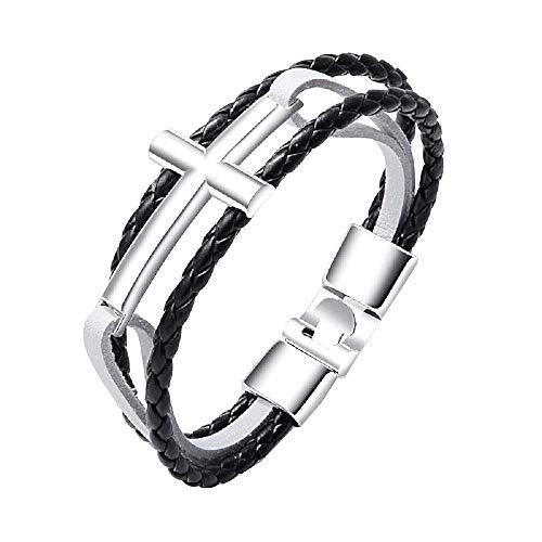 Man - man en vrouw armband - kruis - armband - kunstleer - multiwire - kerstmis - leer - zwart wit zilver - origineel cadeau idee