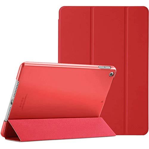 Procase Hülle für iPad 10.2 Zoll 2020 8th Gen/2019 7th Gen, Dreifach Falt Klapp Schutzhülle Hülle, Ultra Dünn Leicht Smart Cover mit Translucent Frosted Rück –Rot