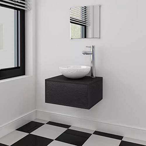 40 cm Mueble de baño suspendido con lavabo de cerámica y espejo, juego de muebles de baño y lavabo, color negro