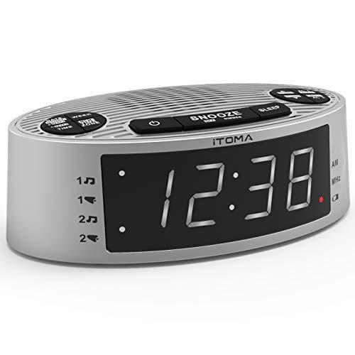iTOMA-Radiowecker, FM-Radio mit 0,9-Zoll-weißer LED-Anzeige, Doppelalarm, Snooze Funktion, Dimmersteuerung,Backup Batterie (CKS301)