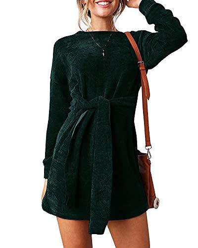 Klousilover Womens Velvet Short Dress Elegant Casual Long Sleeve Fall Tie Front Slim Fit Party Mini Dresses