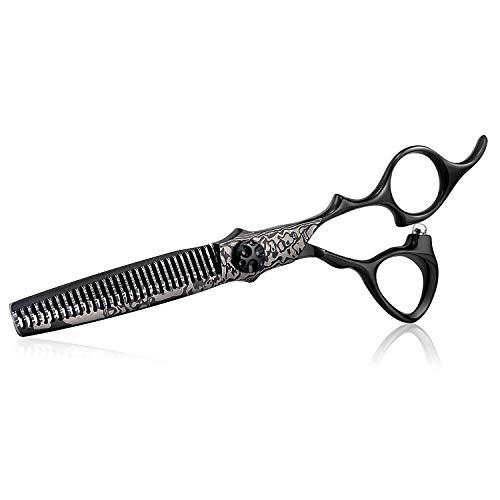 Tijeras de adelgazamiento profesional de peluquería, 6 pulgada, mezcla de cabello texturizante, para hombres, mujeres, 440C, acero inoxidable japonés, negro, diluyente
