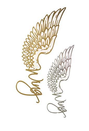 STRASS & PAILLETTES - Mini Tatouages éphémères métallique Waterproof Wing Ailes d'ange Or Argent. Tatoo temporaire Or - Bijou de Peau