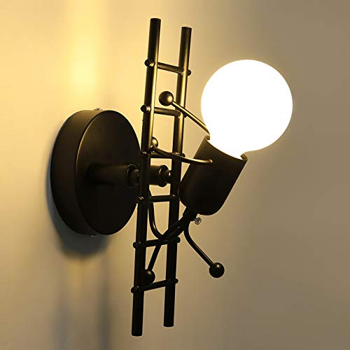 KAWELL Humanoide Creativo Lámpara de Pared Interior Luz de Pared Moderno Apliques de Pared Art Deco Max 60W E27 Base para Niños, Dormitorio, Escaleras, Pasillo, Restaurante, Negro